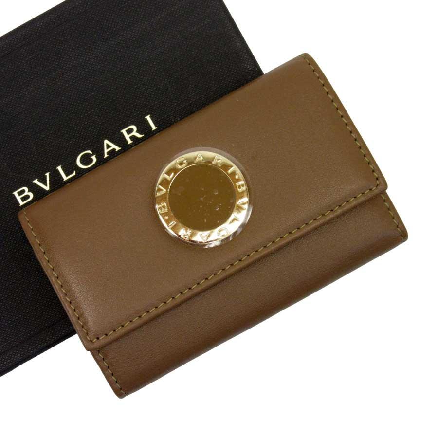 【美品】ブルガリ BVLGARI 6連キーケース キャメルxゴールド レザーx金属素材 レディース 【中古】 - h21239