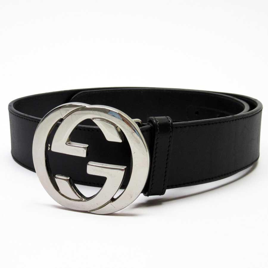 029ef3d45 BrandValue: Gucci GUCCI belt double G black x silver leather x metal  material Lady's men - h21315 | Rakuten Global Market