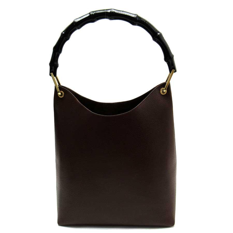 7226e13ecb BrandValue: Gucci GUCCI shoulder bag bamboo brown x black x gold leather  Lady's - g0792 | Rakuten Global Market