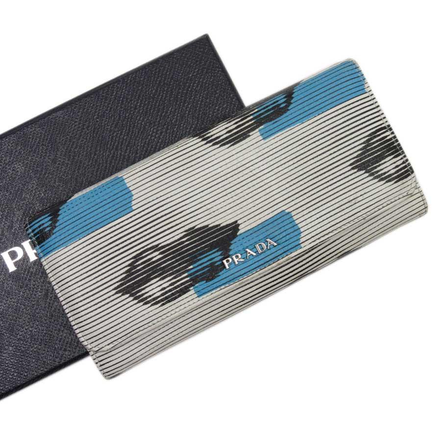 プラダ PRADA 二つ折り長財布 リップ ホワイトxブルーxブラックxシルバー レザー レディース 【中古】【定番人気】 - h21548