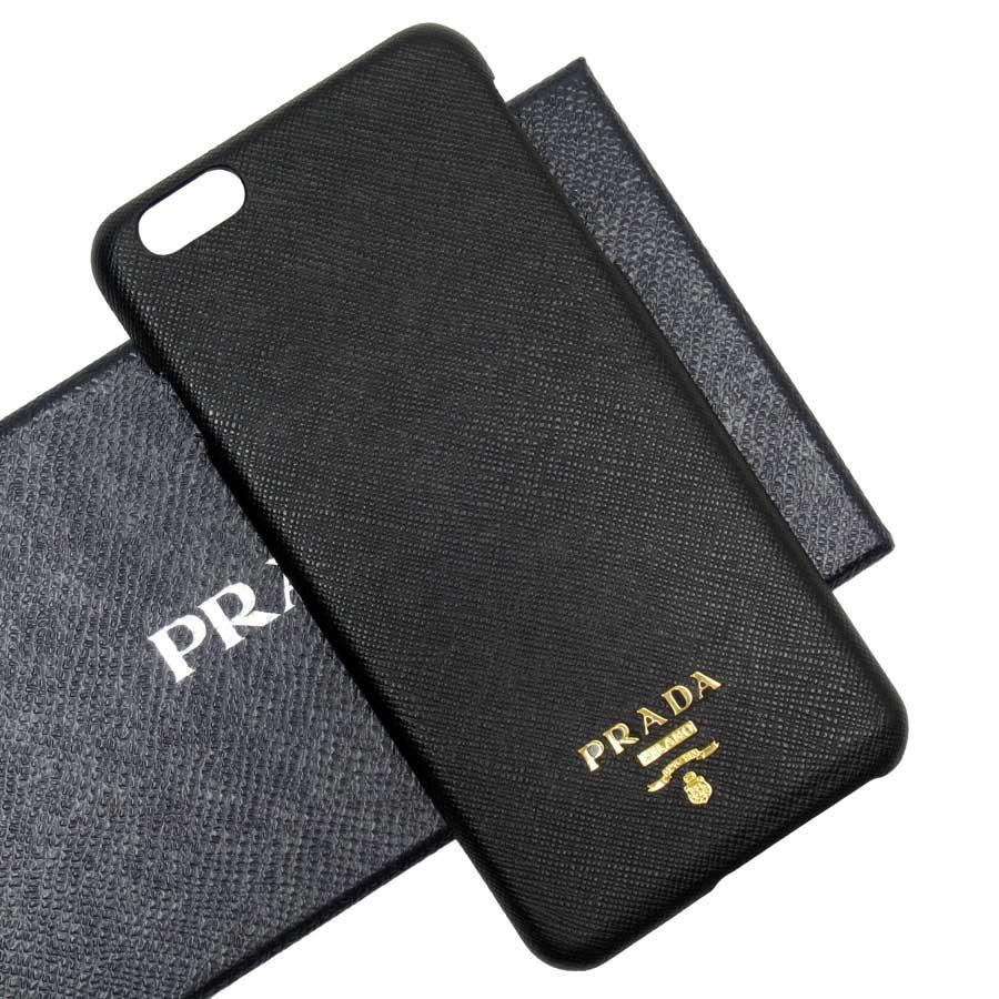 プラダ PRADA iPhone7 plusケース NERO(ブラック)xゴールド サフィアーノレザー レディース メンズ 【中古】【定番人気】 - 50122