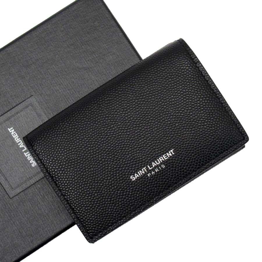 【新品同様】サンローラン SAINT LAURENT 三つ折り財布 ブラック レザー レディース メンズ 【中古】 - h22004