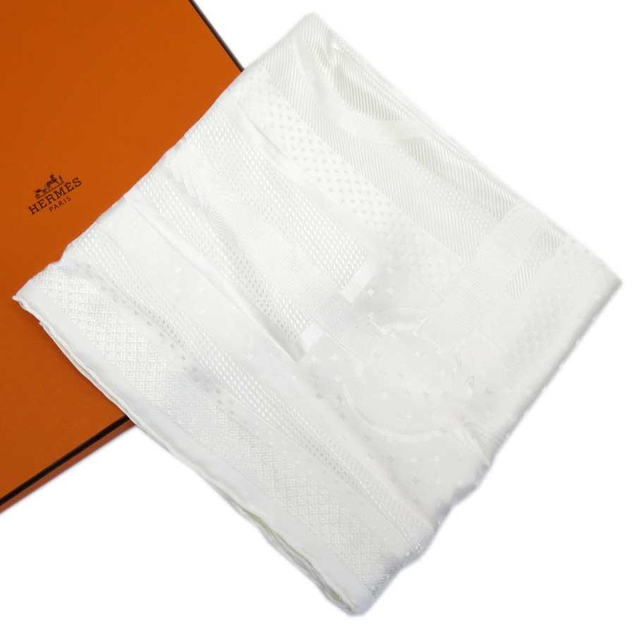 【美品】エルメス HERMES スカーフ アイボリー シルク100% レディース 【中古】 - h22085