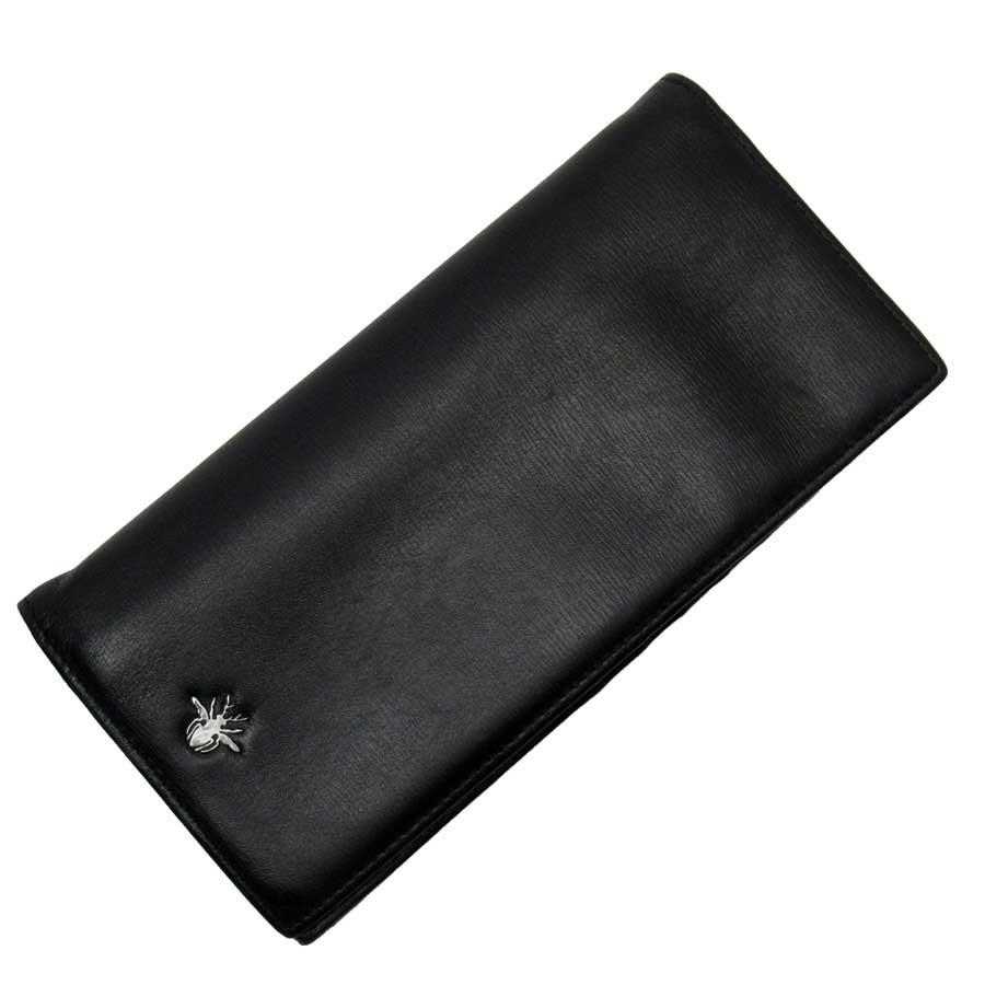 クリスチャンディオール Christian Dior 二つ折り長財布 ブラックxシルバー レザー レディース メンズ 【中古】【定番人気】 - t15094