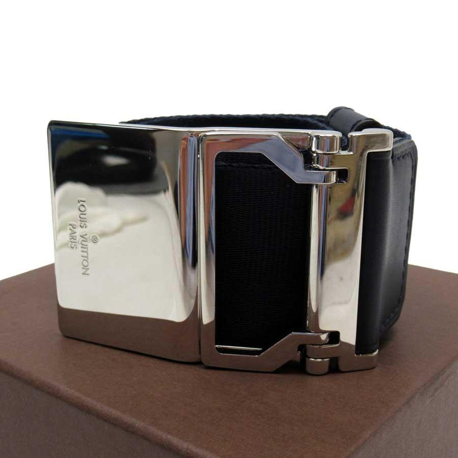 ルイヴィトン Louis Vuitton ベルト(95/38) ギャラクシー ガーター 50MM ネイビーxシルバー ナイロンxレザー メンズ MP115T 【中古】【定番人気】 - t15197