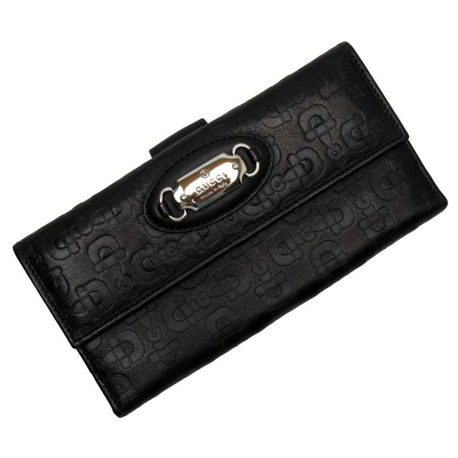グッチ GUCCI Wホック二つ折り長財布 ブラックxシルバー レザー レディース 【中古】【おすすめ】 - t15249