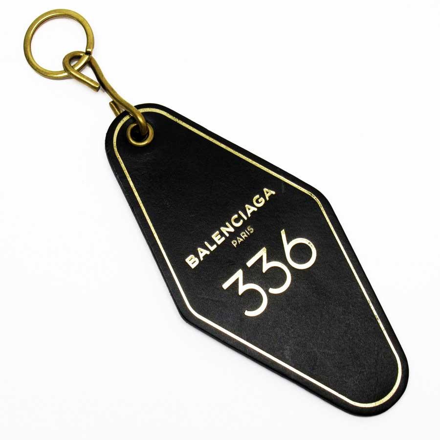 バレンシアガ BALENCIAGA キーリング キーホルダー 336 ブラックxゴールド レザー【中古】【訳あり】 - 50370