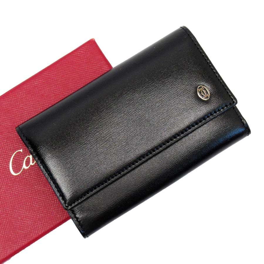 カルティエ Cartier 6連キーケース 2C ブラックxシルバー レザー レディース メンズ 【中古】【定番人気】 - g0900