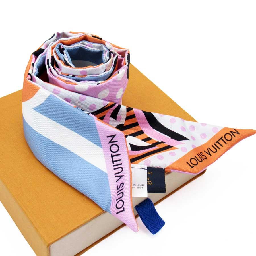 ルイヴィトン Louis Vuitton リボンスカーフ ピンクxブルーxオレンジxブラックxアイボリー シルク100% レディース 【中古】【定番人気】 - h22292