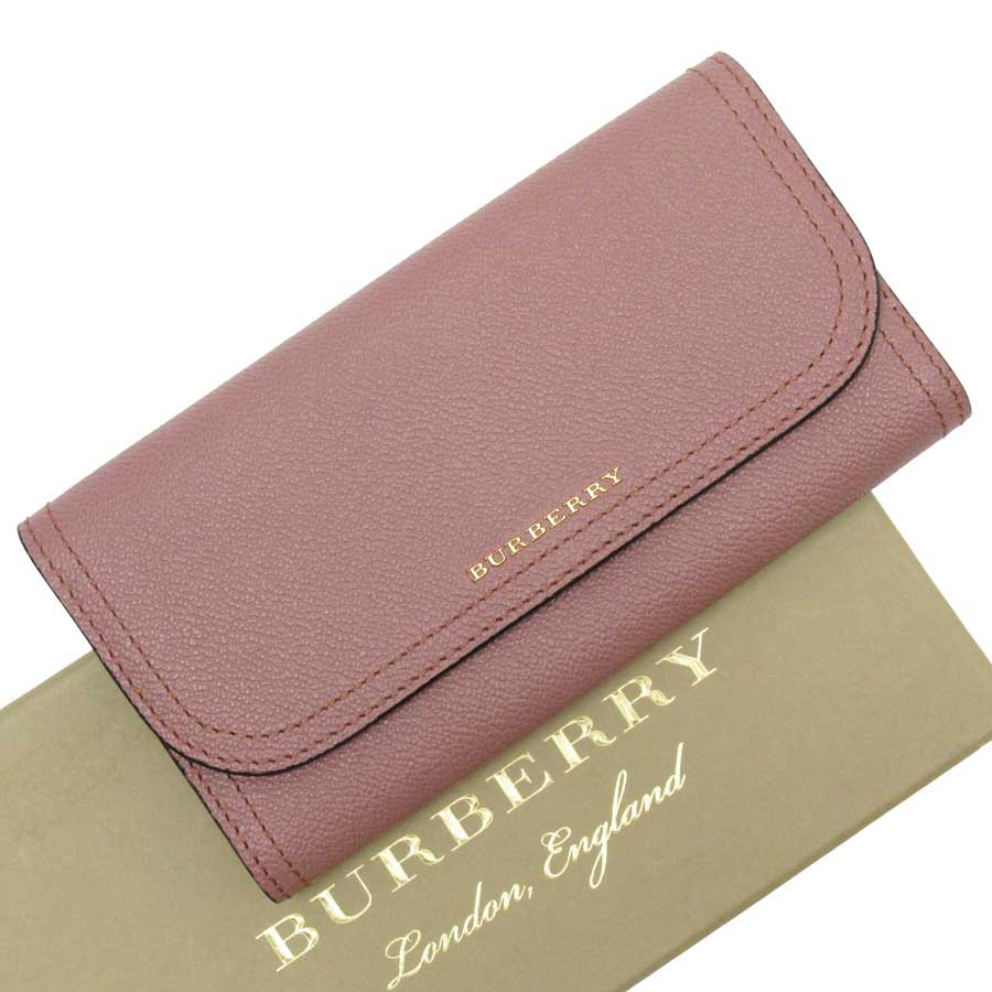 【新品同様】バーバリー BURBERRY 長財布 ピンクxゴールド レザー レディース  - n9203:ブランドバリュー