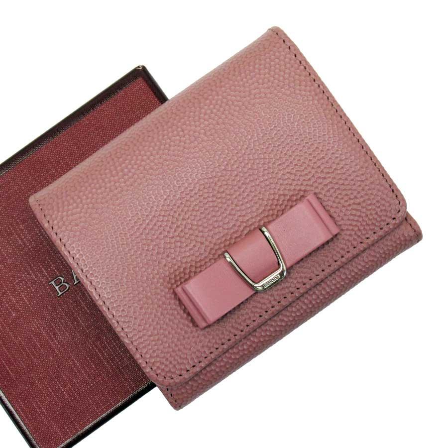 【展示品】バリー BALLY 三つ折り財布 ピンクxシルバー レザー レディース 【中古】 - t15308