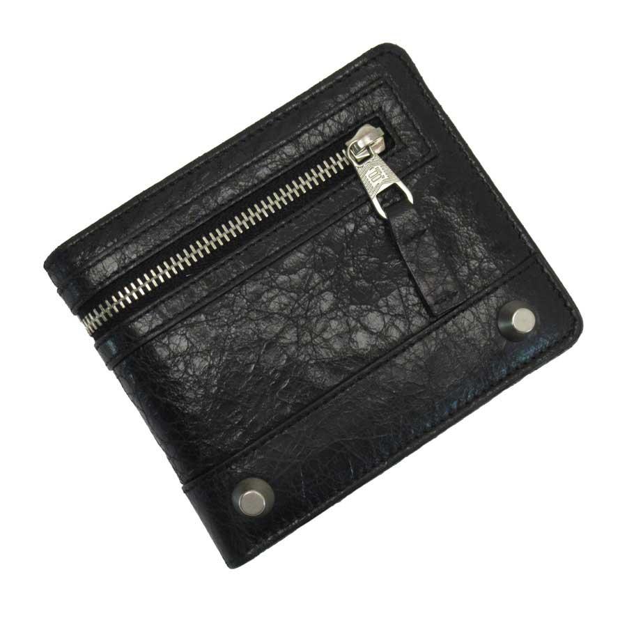 バレンシアガ BALENCIAGA 二つ折り財布 ブラックxシルバー レザー レディース メンズ 【中古】【定番人気】 - t15320