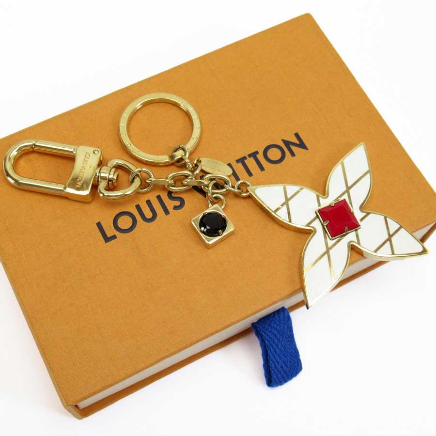ルイヴィトン Louis Vuitton キーリング キーホルダー チャーム マルタージュ フラワーズ ゴールドxアイボリーxレッドxブラック 金属素材 M67383 【中古】【定番人気】 - h22475