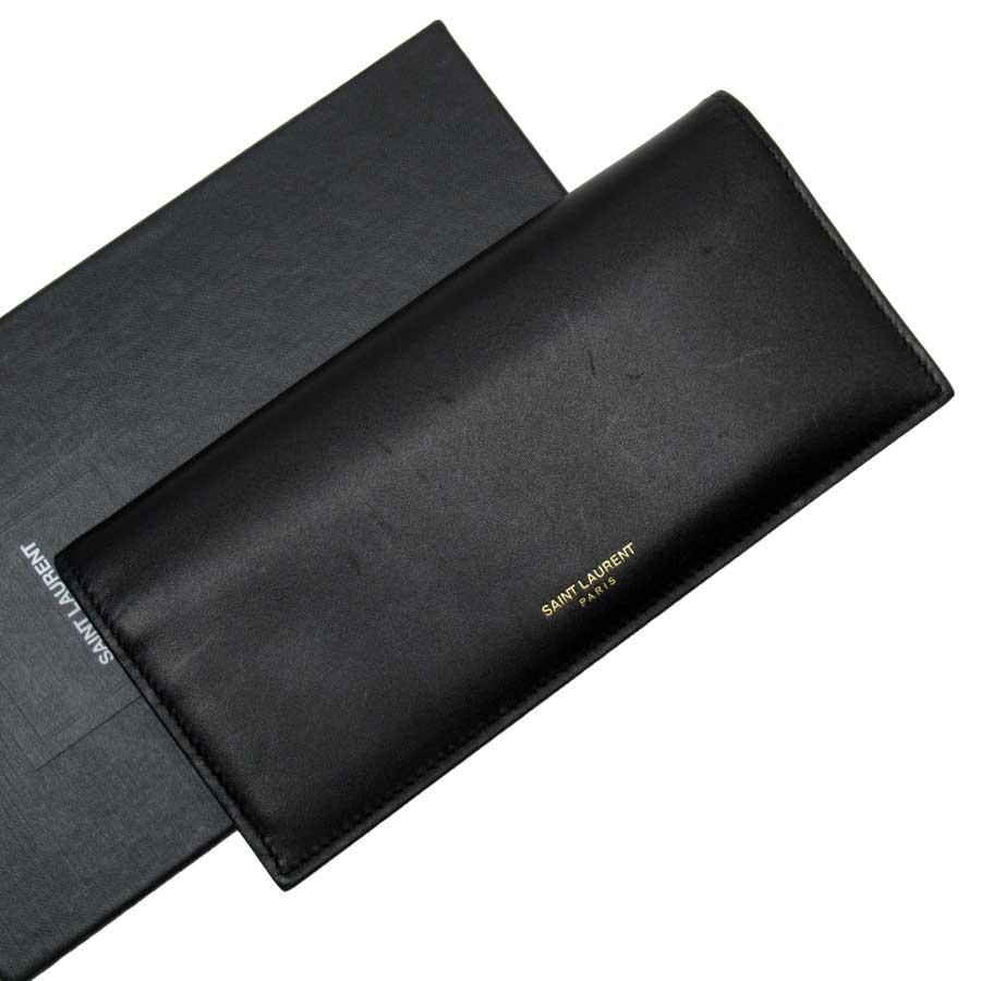 サンローラン SAINT LAURENT 二つ折り長財布 ブラック xゴールド レザー レディース 【中古】【定番人気】 - n9266