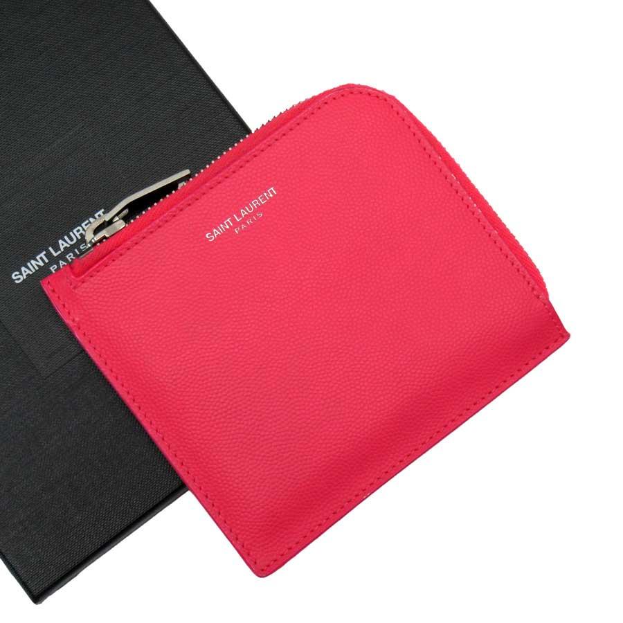 サンローラン SAINT LAURENT カードケース ピンクxシルバー レザー レディース 【中古】【定番人気】 - t15386