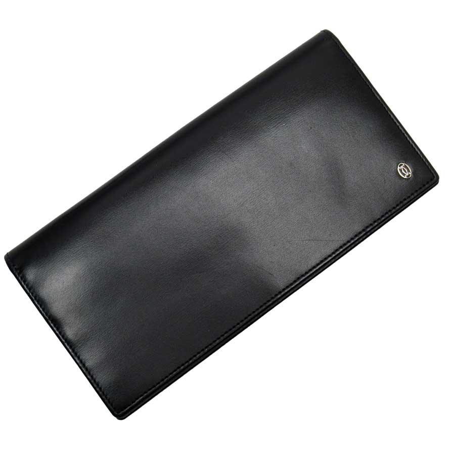 カルティエ Cartier 二つ折り長財布 ブラック レザー 【中古】【定番人気】 - t15439