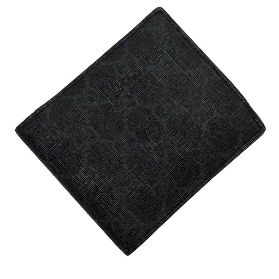 グッチ GUCCI 二つ折り財布 GG ダークグレーxブラック PVCxレザー 【中古】【定番人気】 - t15478