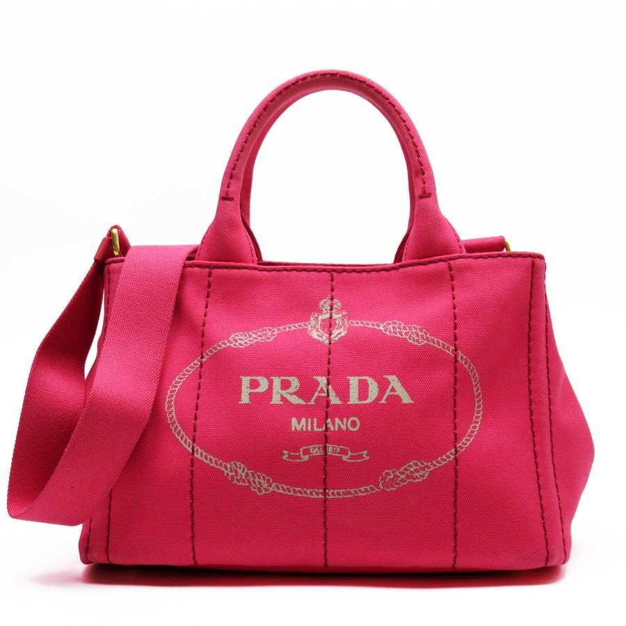 プラダ PRADA ハンドバッグ トートバッグ 斜め掛けショルダーバッグ 2Wayバッグ カナパ ピンクxゴールド キャンバス レディース 【中古】【定番人気】 - 50672