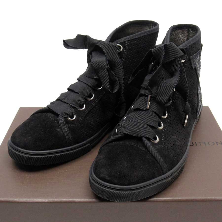 ルイヴィトン Louis Vuitton スニーカー 靴 (35 1/2) ブラック スエードxスパンコールxラバー レディース 【中古】【おすすめ】 - 50902