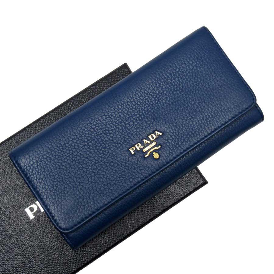 プラダ PRADA 二つ折り長財布 ブルーxゴールド レザー 【中古】【定番人気】 - g1196