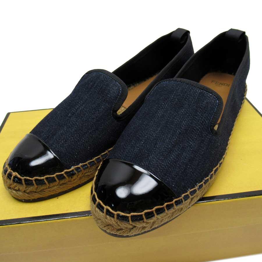 フェンディ FENDI 靴 37 レディース靴  インディゴブルーxブラックxベージュ デニムキャンバスxエナメル レディース 中古 定番人気 - 51320