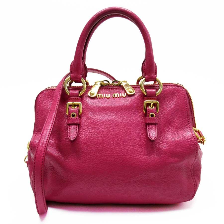 ミュウミュウ MIUMIU ハンドバッグ 斜め掛けショルダーバッグ 2Wayバッグ ピンク系xゴールド レザー 【中古】【定番人気】 - g1274