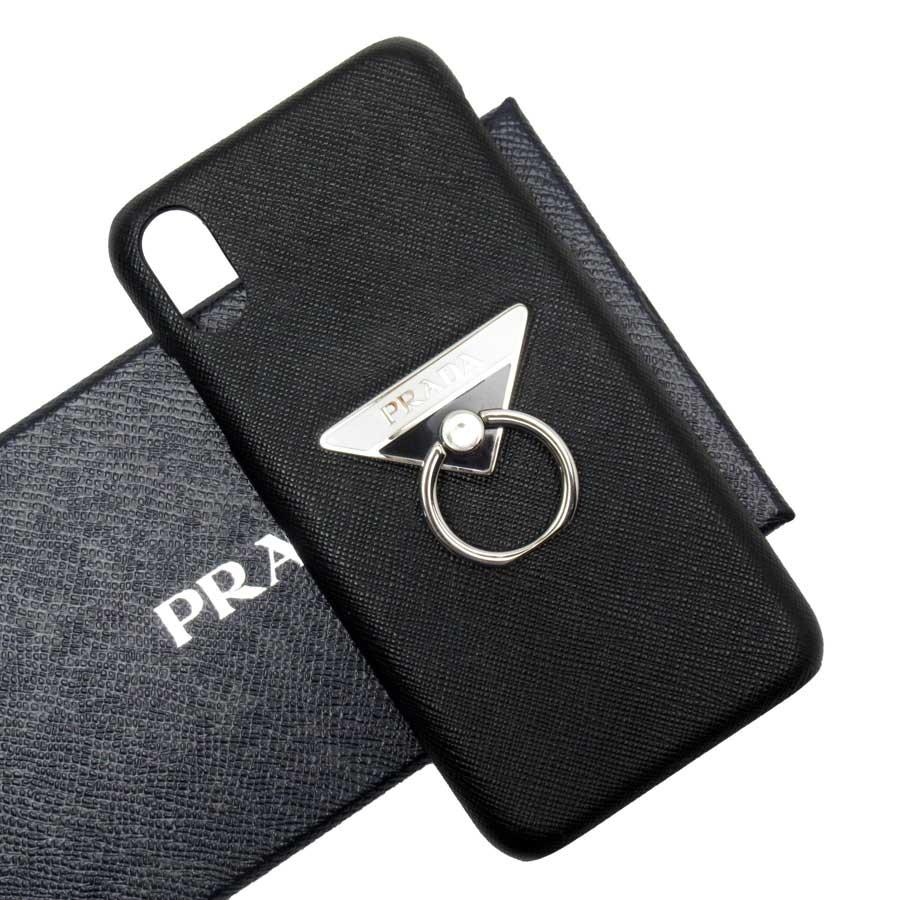 プラダ PRADA iPhone XS Maxケース 三角ロゴ NERO(ブラック) サフィアーノレザー レディース メンズ 【中古】【定番人気】 - h23026