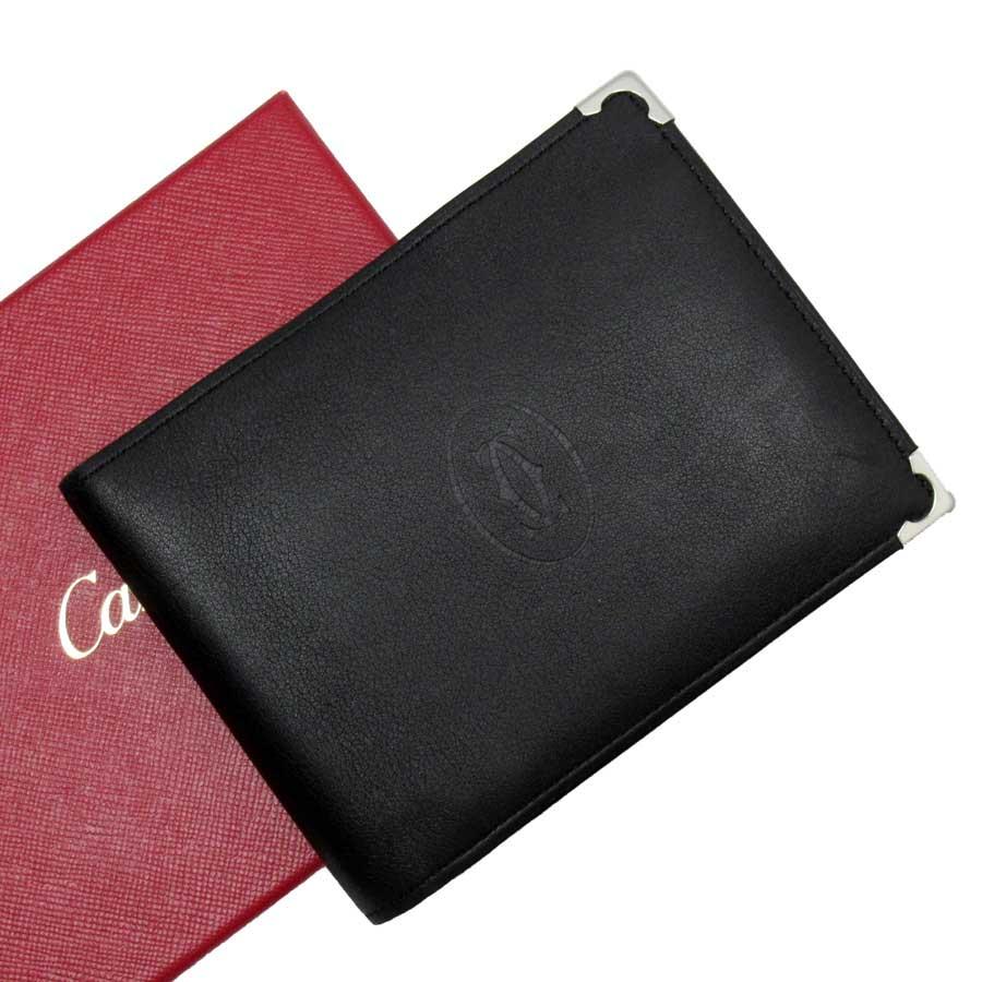 カルティエ Cartier 二つ折り財布 マストライン ブラックxシルバー レザー 【中古】【定番人気】 - t15652
