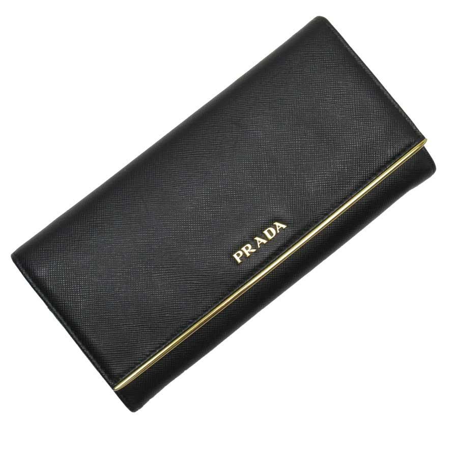 プラダ PRADA 二つ折り長財布 ブラックxゴールド サフィアーノレザー 【中古】【定番人気】 - t15751