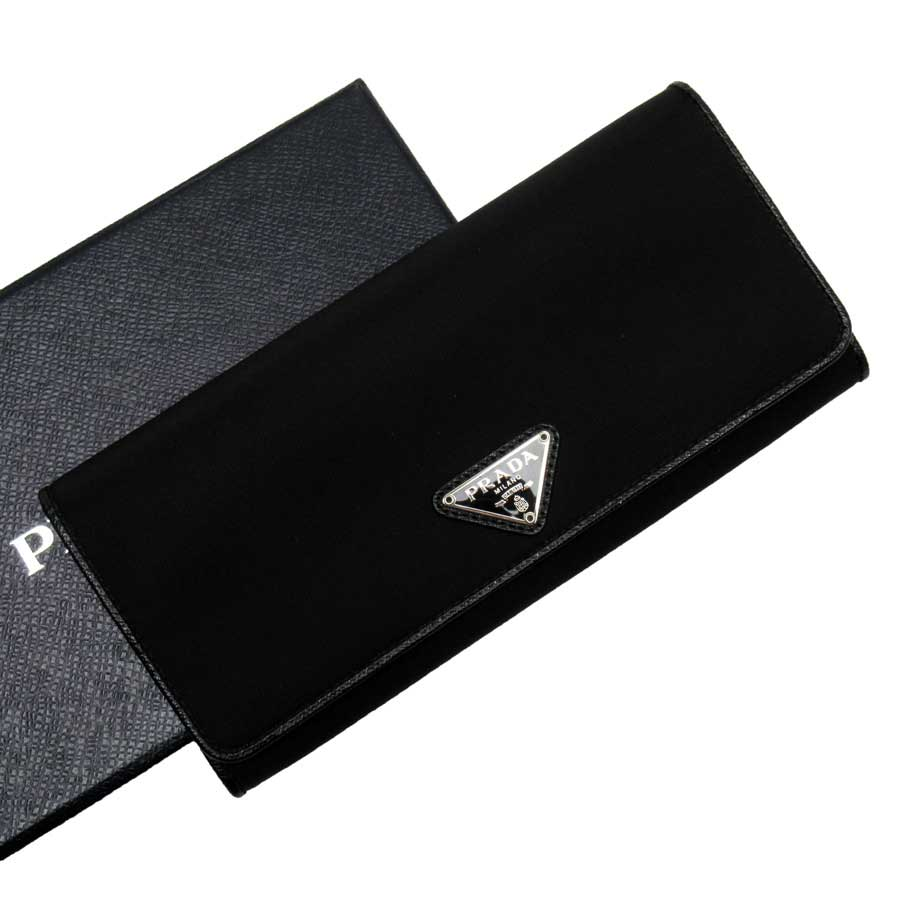 プラダ PRADA 二つ折り長財布 三角ロゴ ブラック ナイロン レディース 【中古】【定番人気】 - t15781