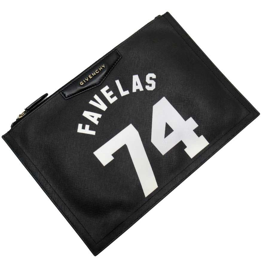 ジバンシィ GIVENCHY クラッチバッグ FAVELAS 74 ブラックxホワイト レザー レディース 【中古】【定番人気】 - h23231