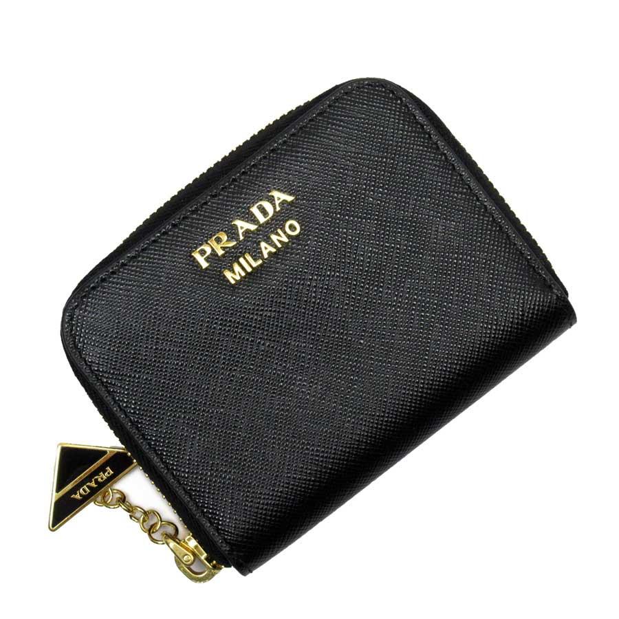 プラダ PRADA コインケース カードケース NERO(ブラック)xゴールド サフィアーノレザー レディース 【中古】【定番人気】 - t15842