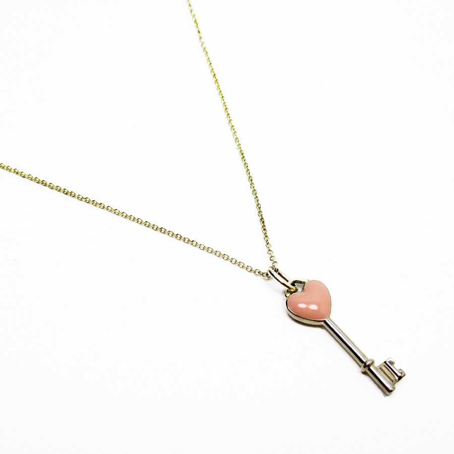 ティファニー Tiffany&Co. ネックレス ハートキー シルバーxピンク 925 レディース 【中古】【おすすめ】 - h23634d