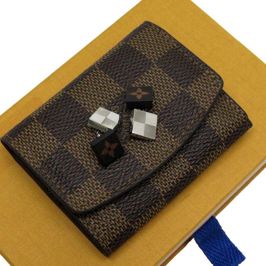 ルイヴィトン Louis Vuitton カフスボタン ダミエ シルバーxブラウン メタルxウッド レディース メンズ M92790 【中古】【定番人気】 - t16025c
