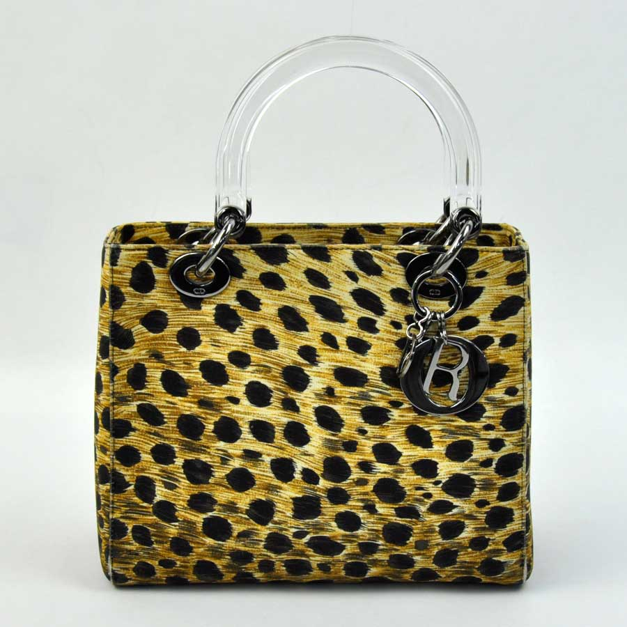43b2f5207574 BrandValue: Christian Dior Christian Dior handbag lady Dior Leo gone doh ( leopard pattern) x clear canvas x plastic Lady's - x1583 | Rakuten Global  Market