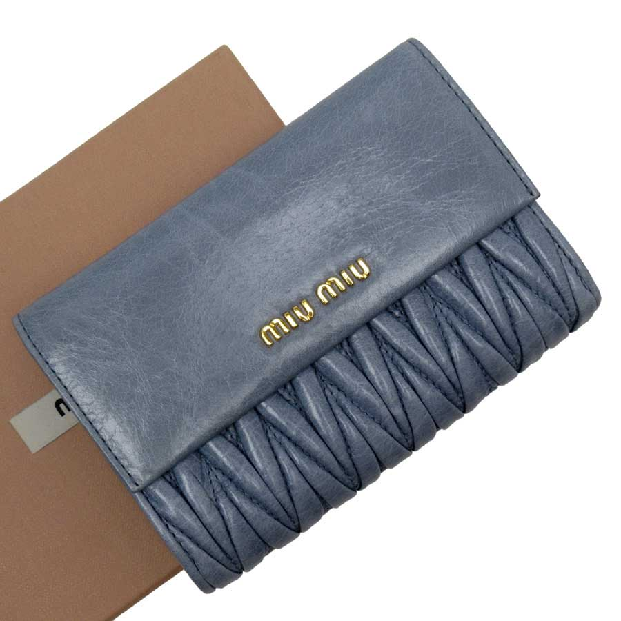 ミュウミュウ MIUMIU 二つ折り財布 ブルーxゴールド レザー レディース 【中古】【定番人気】 - g1549d