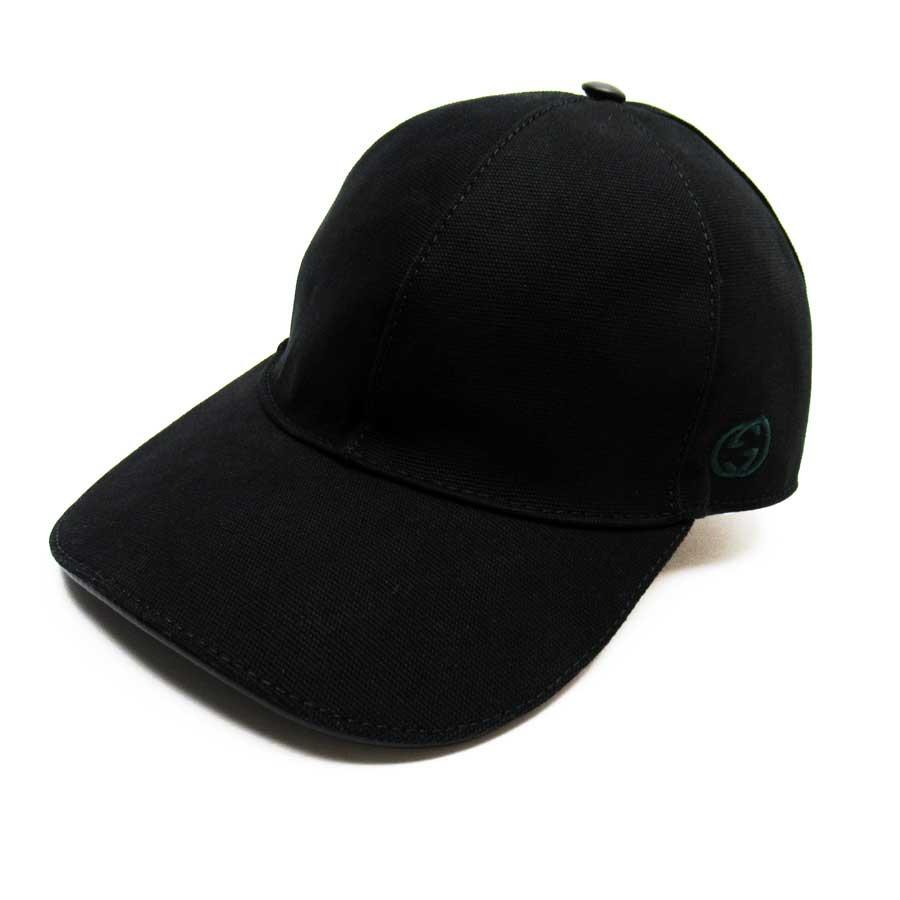 【美品】グッチ GUCCI キャップ 帽子(Lサイズ) ダブルG ブラックxグリーンxレッド コットン100% レディース メンズ 387554 【中古】 - h23865d