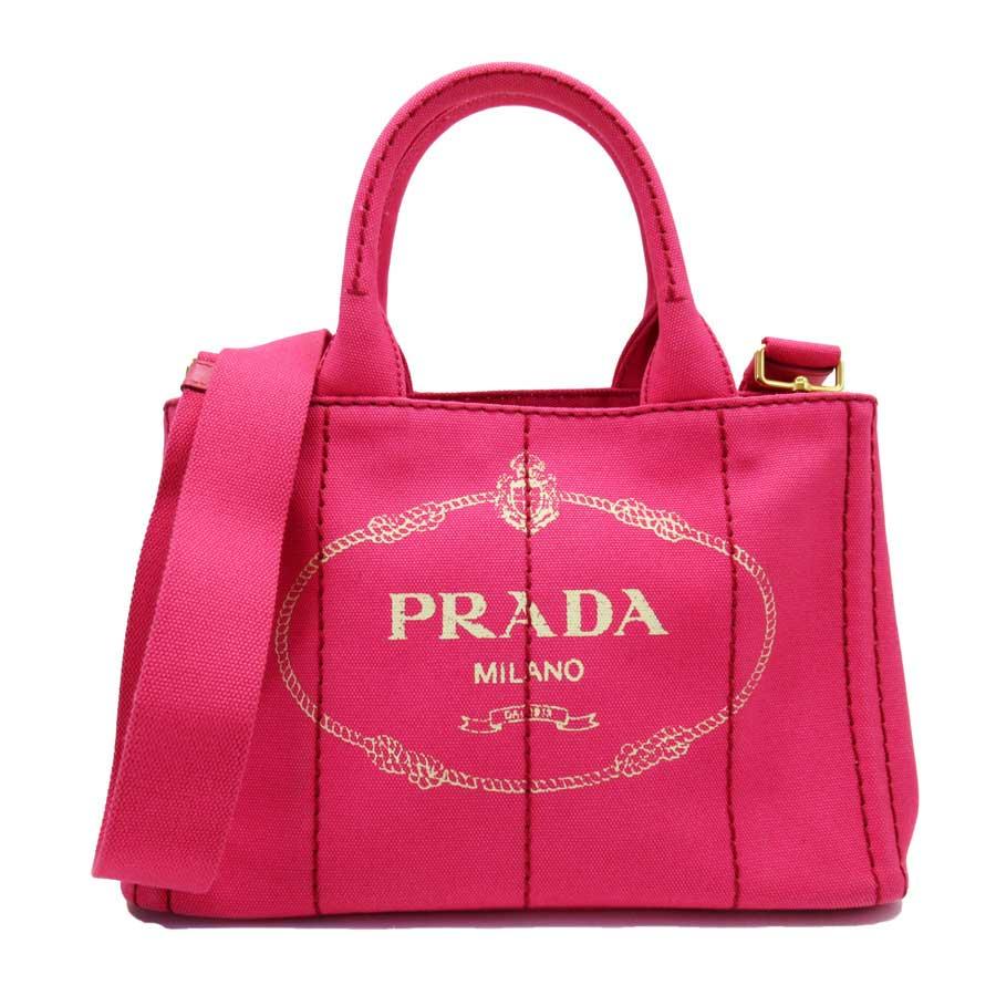プラダ カナパ ハンドバッグ トートバッグ 斜め掛けショルダーバッグ 2Wayバッグ コットンキャンバス h26799b ディスカウント 完売 PRADA ピンク 中古 - 定番人気