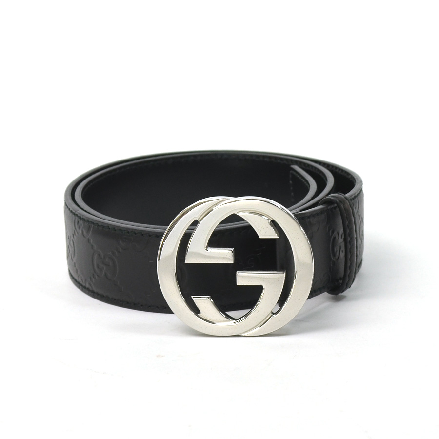 88187b51724 Gucci GUCCI belt Gucci sima interlocking grip G ◇ black x silver Gucci sima  leather x metal material ◇ constant seller popularity ◇ Lady s men - x1656