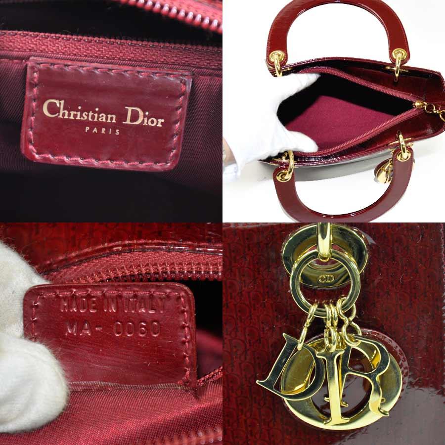 Dior Handbag Shoulder Bag 2way Wine Red Patent X Canvas Gold Metal Ings Constant Er Pority Lady S