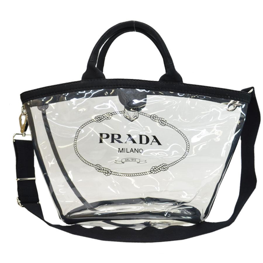 プラダ PRADA バッグ クリアxブラック ビニールxキャンバス トートバッグ ショルダーバッグ レディース 【中古】【訳あり】 - 51041