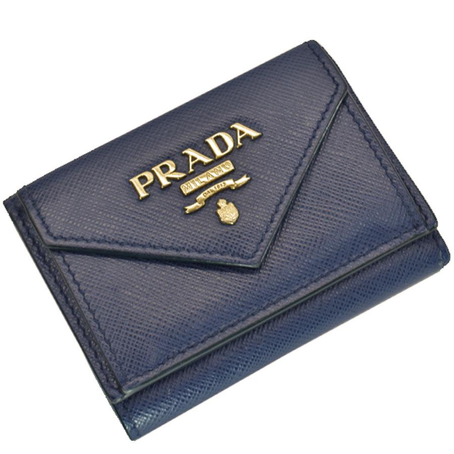 プラダ PRADA 財布 ネイビーxゴールド レザーx金属素材 三つ折り レディース 【中古】【定番人気】 - 51052