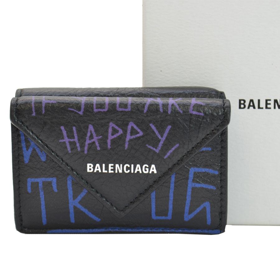 バレンシアガ BALENCIAGA 財布 ブラックxブルーxパープル レザー 三つ折り レディース メンズ 【中古】【定番人気】 - 51099