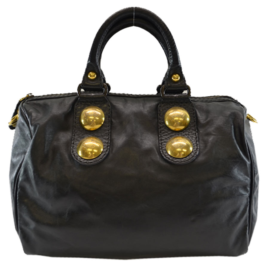 グッチ GUCCI ハンドバッグ ◆ブラックxゴールドカラー レザーx金属素材◆定番人気【中古】 ◆ - k6911