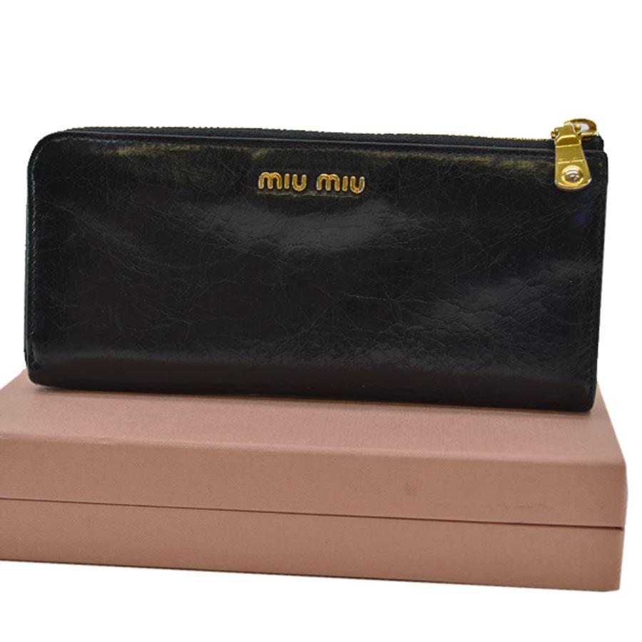 ミュウミュウ MIU MIU 長財布 ◆ブラックxゴールドカラー レザーx金属素材◆定番人気【中古】L字ファスナー ◆レディース - k7468