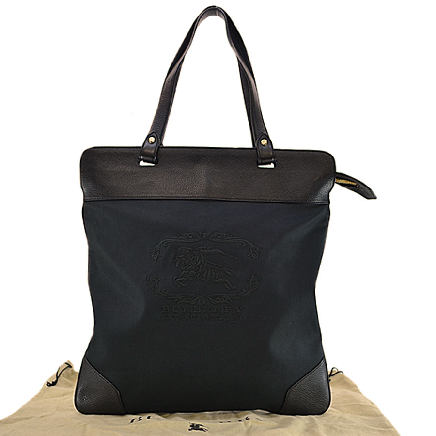 75407d5f5e5a  basic popularity   used  Burberry  BURBERRY  tote bag shoulder bag Lady s  men black canvas x leather