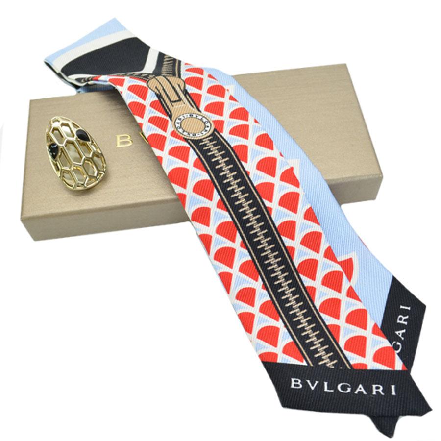ブルガリ BVLGARI リボンスカーフ ブルーxブラックxレッドxゴールド シルク100%x金属素材 スカーフリング 2点セット レディース 【中古】【定番人気】 - k9116