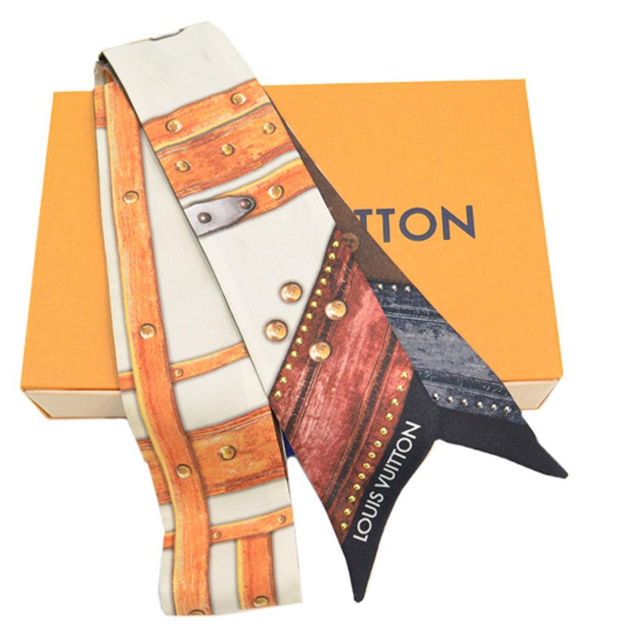 ルイヴィトン Louis Vuitton スカーフ モノグラム バンドー ブラウンxベージュxオレンジ シルク100% リボンスカーフ レディース 【中古】【定番人気】 - k9118