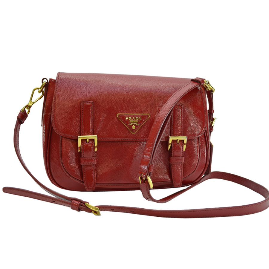 20d135299c77 BrandValue: Take a Prada PRADA bag triangle logo red x gold PVCx leather x  metal material shoulder bag slant; lady's -89,678 | Rakuten Global Market