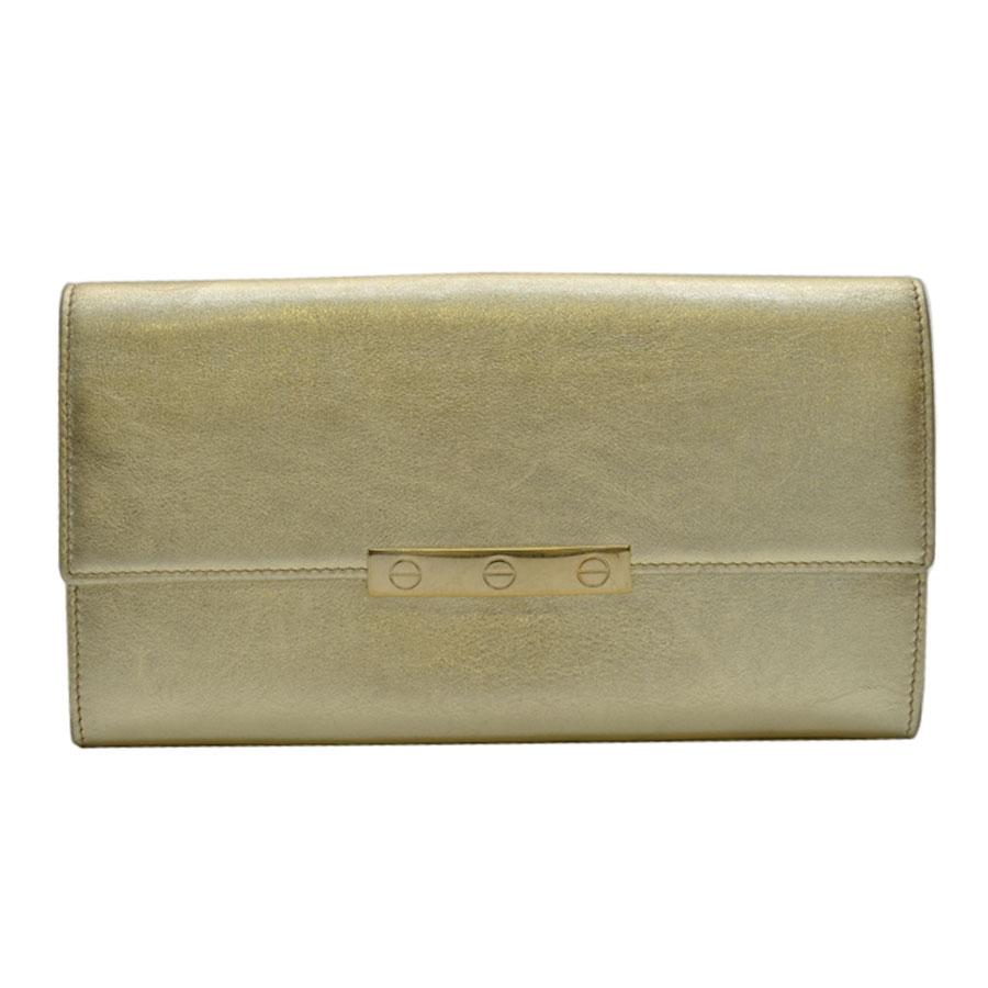 カルティエ Cartier 長財布 ラブコレクション ビスモチーフ ◆ゴールド カーフレザー◆定番人気【中古】 ◆レディース - k7188